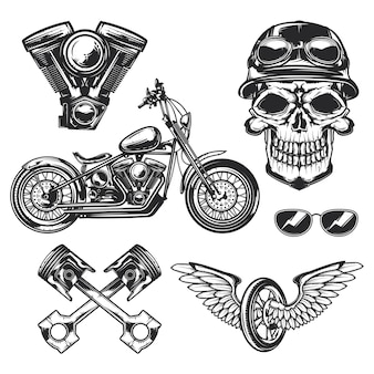 Set of biker and motorcycle elements