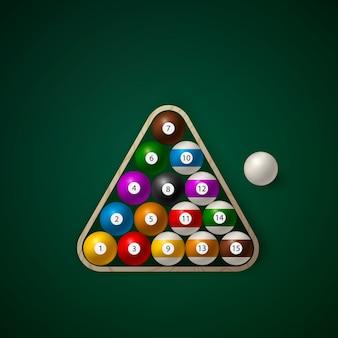 Set of billiard balls on in a wooden rack. billiard green table.  illustration