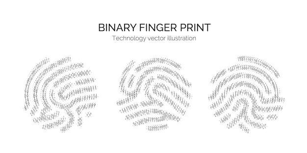 Set of binary code fingerprint on white backgroun. digital key for software identification. biometric id. fingerprint scanner in futuristic technology system. vector illustration