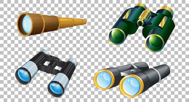 Set di binocoli su sfondo trasparente