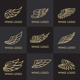 Set of bird eagle and wing logo template