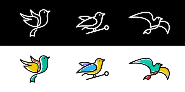 Set of bird logo design icon collection