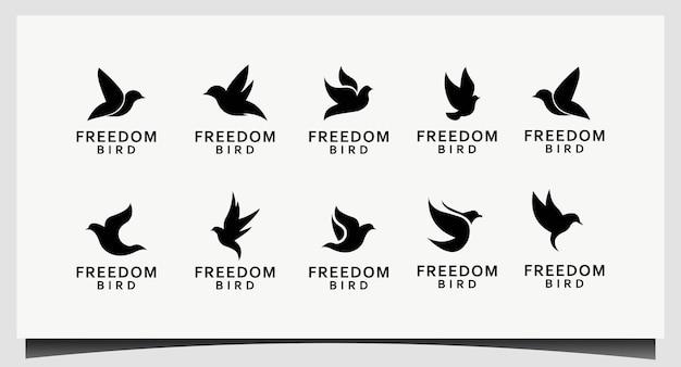 Установите птицу любить мир с современной концепцией значок дизайн логотипа вектор