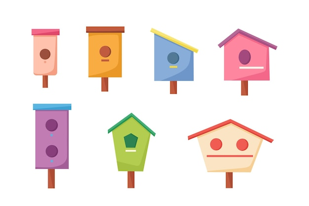 A set of birdhouses of different shapes. vector illustration of a cartoon style.