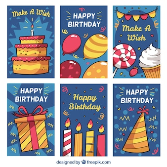 Set of birhtday cards in hand drawn style
