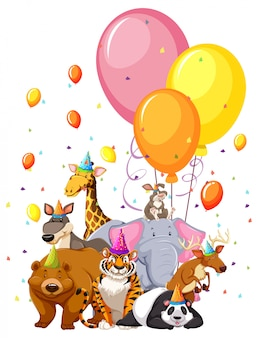 Set of birthday animals