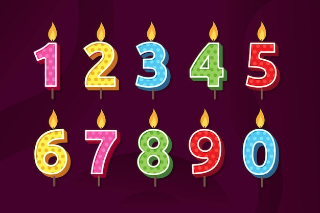 Set of birthday anniversary numbers candle vector illustration