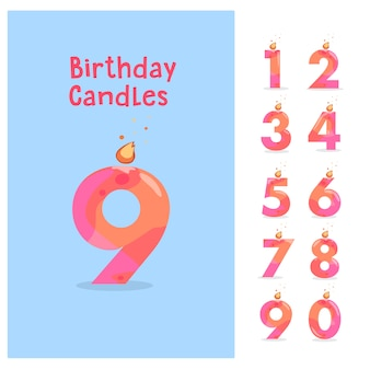 Set of birthday anniversary numbers candle