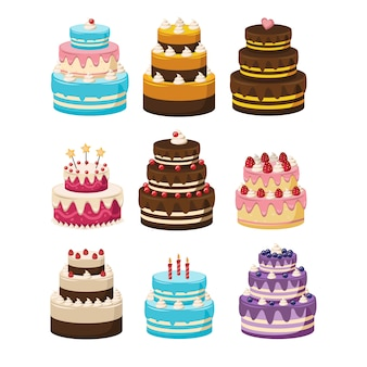 Set of birthday cakes.cakes collection. cartoon illustration of different types of beautiful and cute cakes, isolated on white.