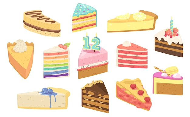 Set of birthday cakes dessert pieces with candles, fruits or berries. confectionery sweet production pies, pastry, bakery or patisserie. sweet cupcake with chocolate cream. cartoon vector illustration