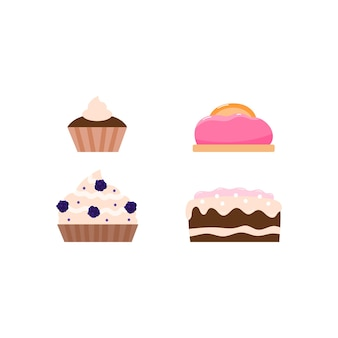 Set of birthday cakes and pies with cream cartoon vector illustration isolated
