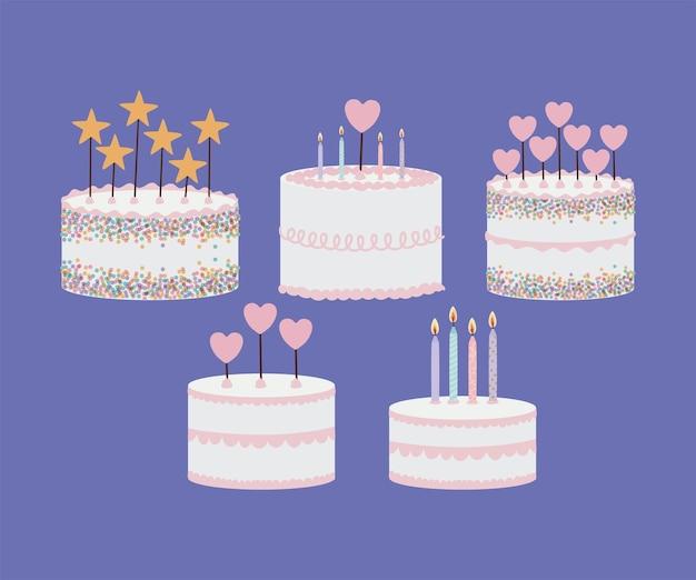 Set of birthday cakes on purple