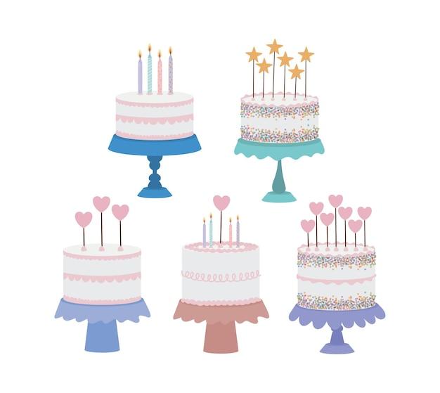 Set of birthday cakes on white