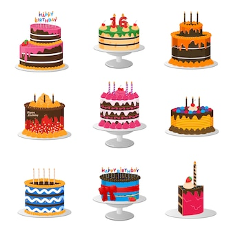 Set of birthday cakes