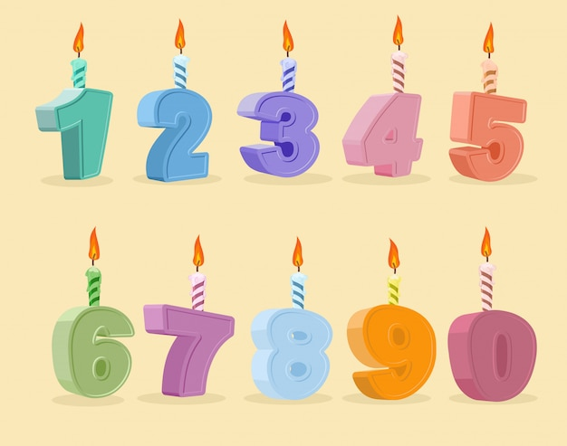 Set birthday candles cartoon numbers