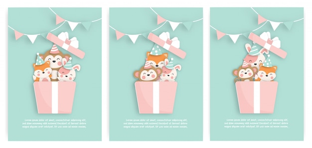 Set of birthday cards with cute animals in a gift box.  paper cut style.