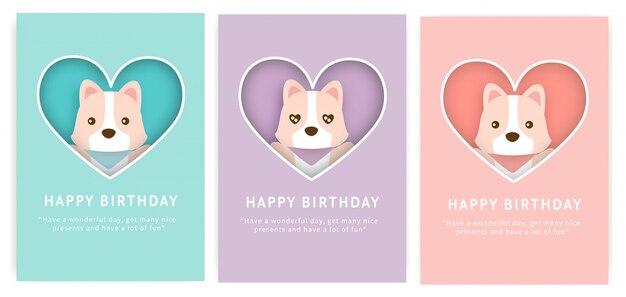 Set of birthday cards with cute corgi dog.