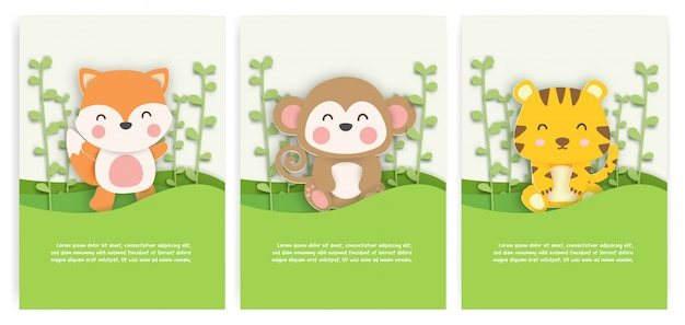 Set of birthday cards with cute fox , monkey and tiger in the forest in paper cut style.
