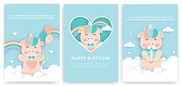 Set of birthday cards with cute unicorn .