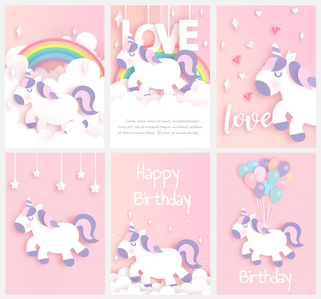 Set of birthday cards with a cute unicornin paper cut and craft style .