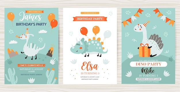 Set of birthday cards with dinosaurs