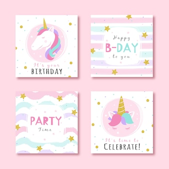 Set of birthday cards with glitter party elements