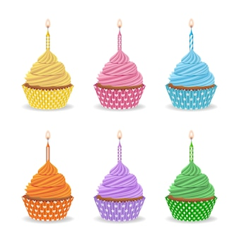 Set of birthday colorful cupcakes with candles