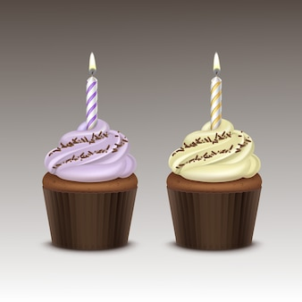 Set of birthday cupcake with light lilac yellow whipped cream, chocolate sprinkles and one candle close up  on background