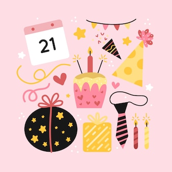 Insieme di elementi di decorazione di compleanno
