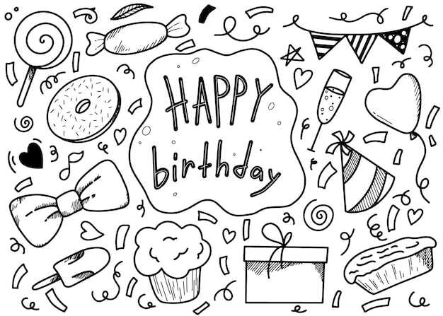 Set of birthday elements for holiday doodle linear