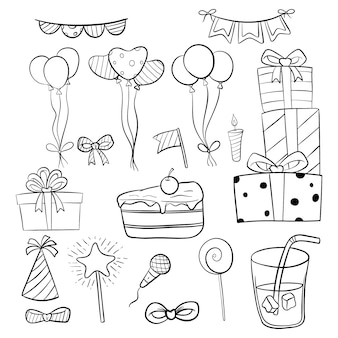 Set of birthday elements or icons with hand drawn or doodle style
