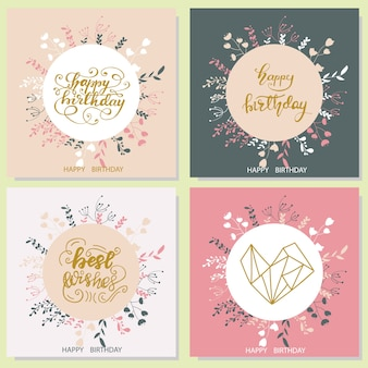 Set of birthday greeting card designs. vector illustration.