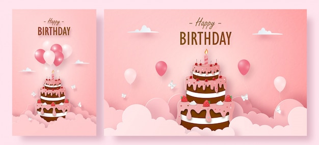 Set of birthday greeting card with chocolate strawberry cake