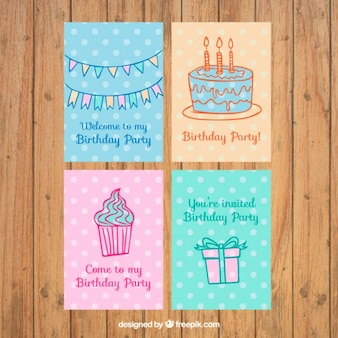 Set of birthday invitation with drawings