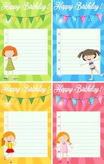Set of birthday note