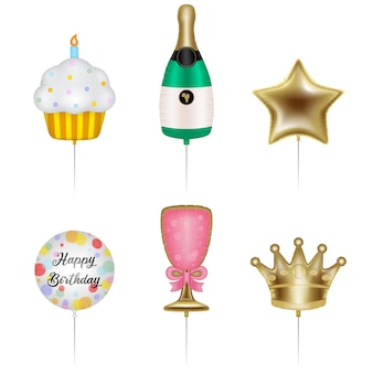 Set of birthday party balloons