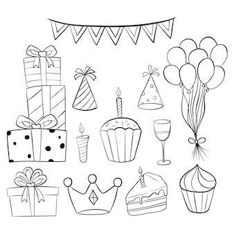 Set of birthday party collection with doodle style on white