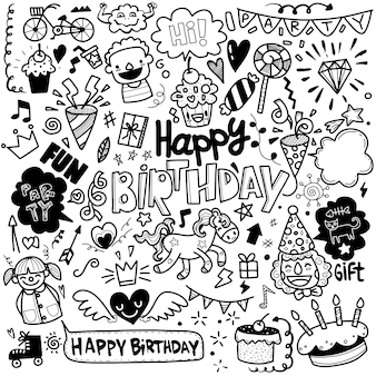 Set of birthday party hand drawn doodle sketch line
