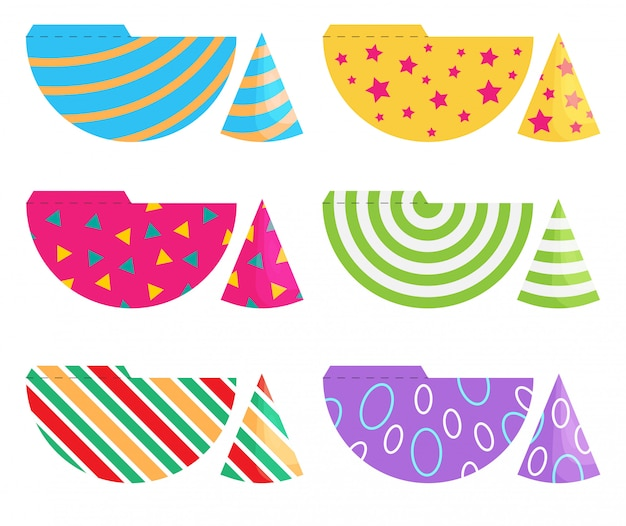 Set of birthday party hats. vector cones template with cute decoration. print and cut