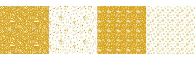 Set of birthday seamless patterns with gifts cake party flags balloons candle confetti in gold