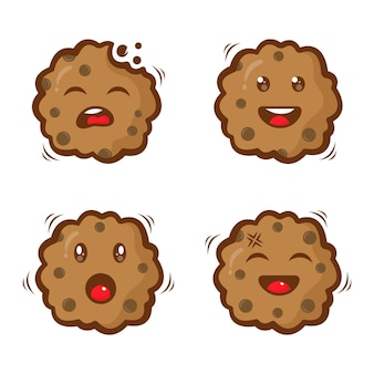 Set of biscuits character logo design template