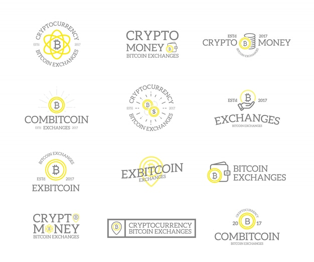 Set of bitcoin and cryptocurrency logo.