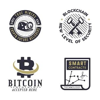Set of bitcoins logos
