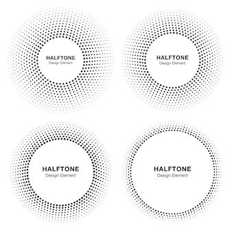Set of  black abstract circle frame halftone design