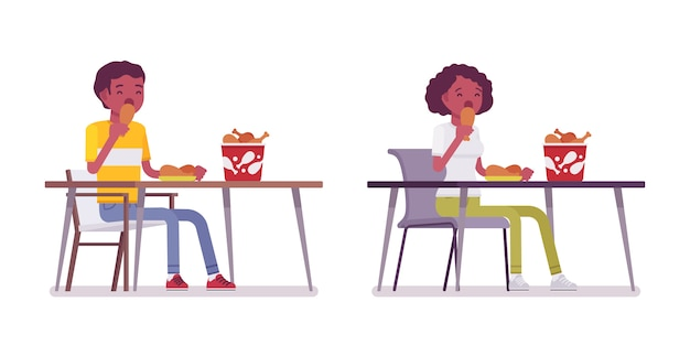 Set of black or african american young man and woman eating