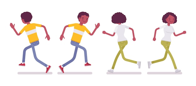 Set of black or african american young man and woman running