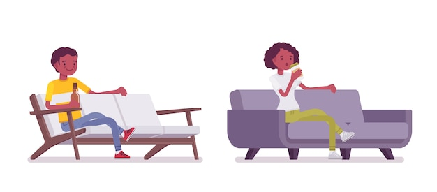 Set of black or african american young man and woman sitting