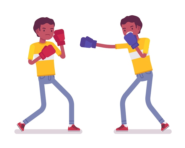 Set of black or african american young men boxing