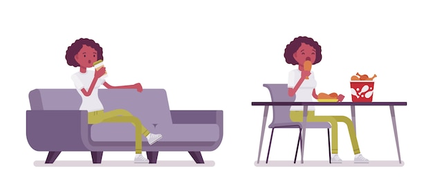 Set of black or african american young woman eating and relaxing