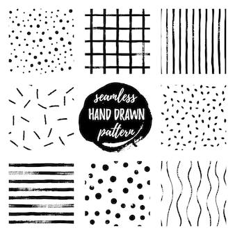 흑백 손으로 그리는 벡터 원활한 패턴 스트립, 그리드, 폴카 도트를 설정합니다. 흑백의 끝없는 질감. 스칸디나비아 심플한 스타일. 직물, 벽지를 위한 세련된 유행 배경 디자인